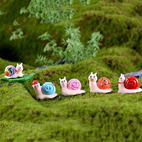 LVA Esculturas de jardín – 5 Piezas miniaturas pequeñas Manualidades Lindas Resina Musgo Micro Paisaje Caracoles Adornos para hogar Mini casa Hada jardín decoración: Amazon.es: Jardín