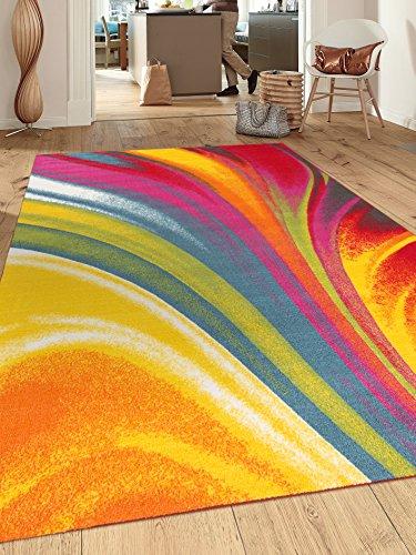 Modern Contemporary Waves Non-Slip (Non-Skid) Area Rug 5 X 7 (5' 3