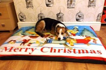 kosipet® Deluxe de forro polar diseño de Navidad extra grande impermeable cojín cama perro cama