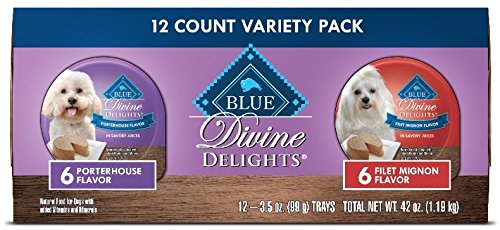Blue Buffalo Divine Delights Natural Adult Small Breed Wet Dog Food Cups Variety Pack, Filet Mignon Flavor in Savory Juice and Porterhouse Flavor in Savory Juice 3.5-oz (12pack- 6 of each flavor) ()