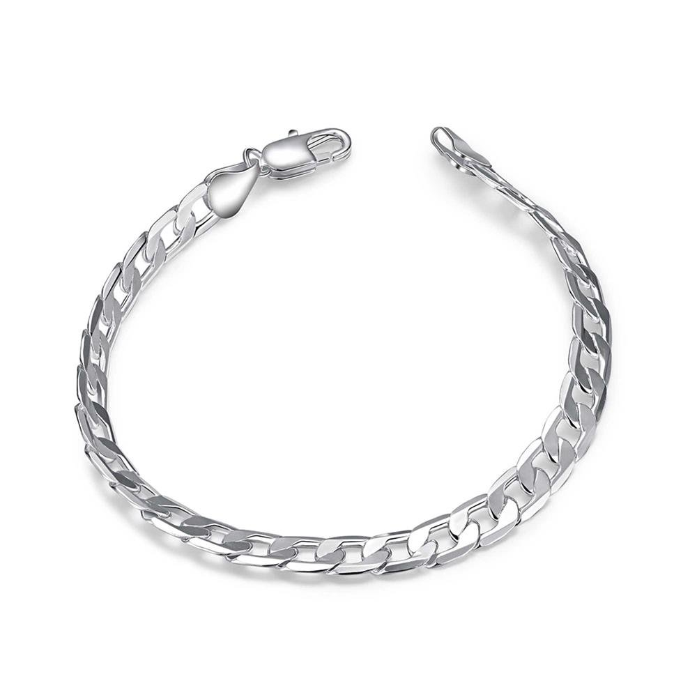 BODYA Men's Boy's Thin Cuban Chain Bracelet Cool Curb Link 6mm 8mm Width Silver Color High Polished JY0692