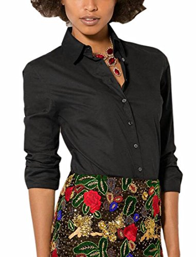 Poplin Wrap Blouse (Generic Womens Solid Long Sleeve Button Down Stretch Simple Easy Care Shirt Black XL)