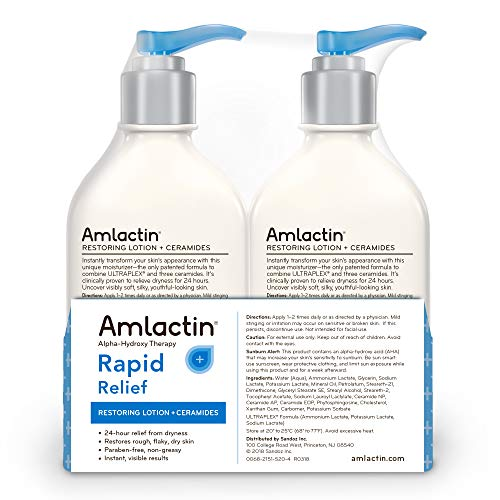 AmLactin Rapid Relief Restoring Lotion + Ceramides | 24-Hr Dryness Relief | Powerful Alpha-Hydroxy Therapy Gently Exfoliates | Lactic Acid (AHA) | Rough Flaky Dry Skin | Twin Pack (2) 7.9 oz. Bottles by AmLactin (Image #1)