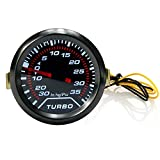 WarmCare 52mm 2″ LED Car Turbo Boost Oil Press Gauge Universal Meter Smoked Dials 35Psi 12v Blue LED Light