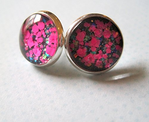 Lacquer Elephant - Silver-Tone Charcoal Gray and Neon Pink Glitter Glass Stud Earrings 12mm