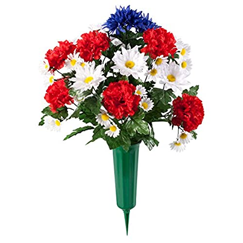Artificial flowers for grave amazon miles kimball patriotic bouquet memorial by oakridgetm outdoor mightylinksfo