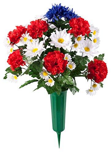 (OakRidge Patriotic Memorial Bouquet, Silk Floral Indoor/Outdoor Décor, 21
