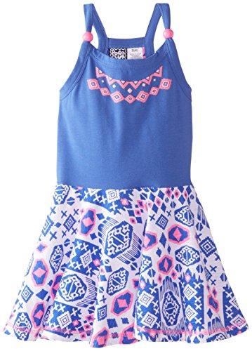 Pogo Club Little Girls Tribal Printed Dress  Peri Blue  Medium
