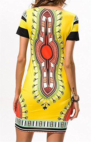 Print Short Cromoncent Yellow Dashiki Beach Bodycon Dress Women's Stretchy Sleeve 4OwBqO