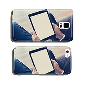 Businessman hands holding tablet pc - vintage color effect cell phone cover case Samsung S6