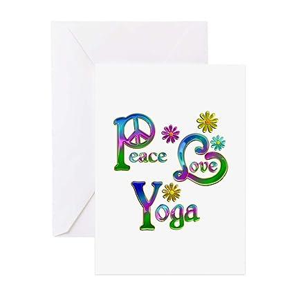 Amazon.com : CafePress Peace Love Yoga Greeting Card, Note ...