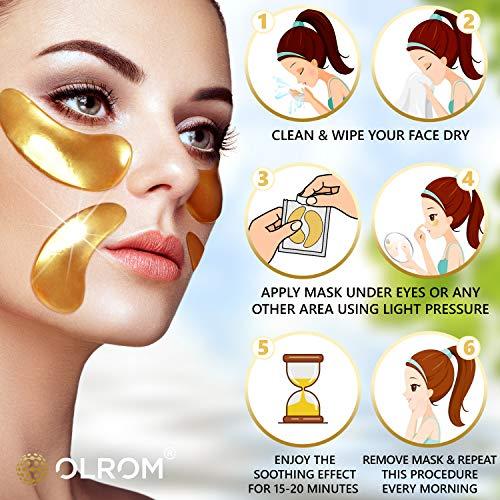 Olrom Eye Mask - 4 Kits Under Eye Patches: Gold Collagen Eye Pads, Detox Dead Sea Mineral Gel Eye Mask, Aloe Anti-Aging Hyaluronic Acid Eye Patches, Moisturizing Coconut Milk Under Eye Mask, 16 Pairs 7