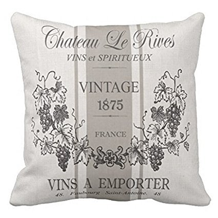Modern Vintage French Grain Sac Wine Pillow Case 16 x 16 Inches - Vintage French Wine