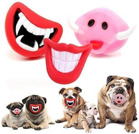 Gwill 3 Pack Funny Perro Squeak Sonido Juguete para kauen sin BPA – Diablo Rojos Labios Dientes Dientes Cerdo Nariz Halloween Navidad Color Azar: Amazon.es: Productos para mascotas
