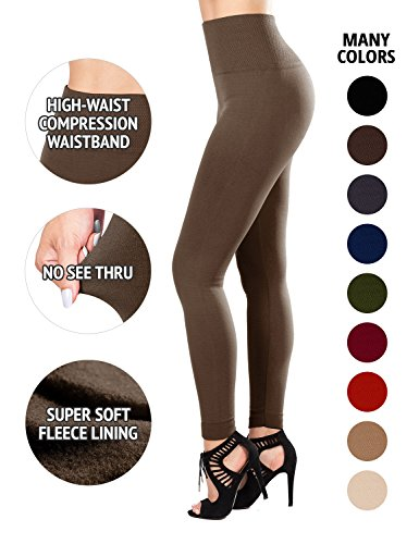 (Sejora Fleece Lined Leggings High Waist Compression Slimming Warm Opaque Tights (One Size, Mocha))