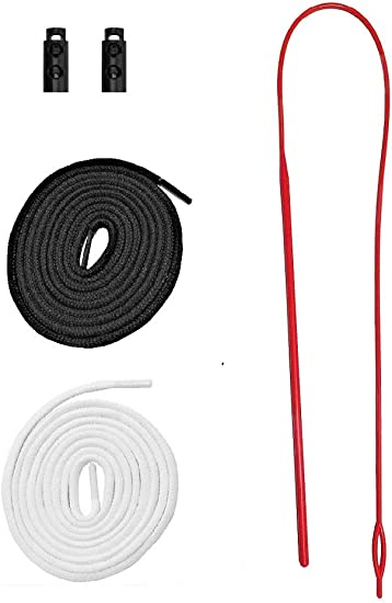 Replacement Drawstrings Drawcords for Pants Sweatpants Hoodies Scrubs Jackets Shorts Red /& White 60-63 Long /& Easy Threader Flexible Needle Drawstring Replacement Tool Manufactured Assembled in USA