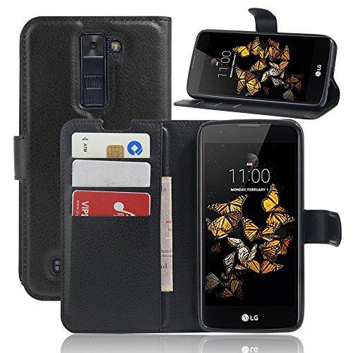SMTR LG K8 Wallet Tasche Hülle - Ledertasche im Bookstyle in Schwarz - [Ultra Slim][Card Slot][Handyhülle] Flip Wallet Case Etui für LG K8