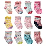 12 Pairs Toddler Girl Non Skid Socks Cute Cotton with Grips, Baby Girls Anti-skid Socks (12-36 Months, 12 Pairs)