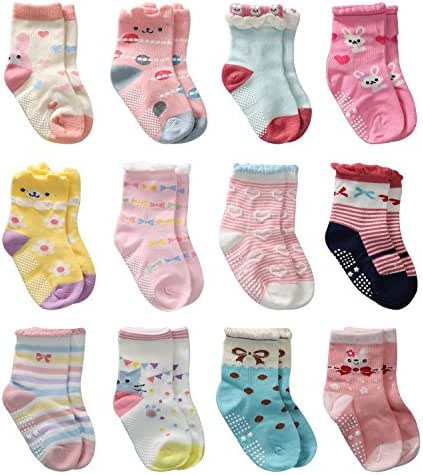 12 Pairs Toddler Girl Grips Socks, Baby Socks Girl Home Socks Anti Slip for Kids