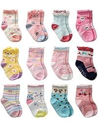 12 Pairs Toddler Girl Grips Socks, Baby Socks Girl Home Socks Anti Slip for Kids