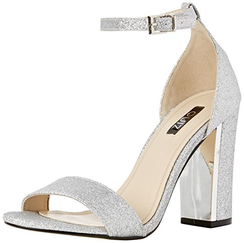 Quiz Barely There Block Shimmer Sandals - Zapatos Mujer Plata (Silver)