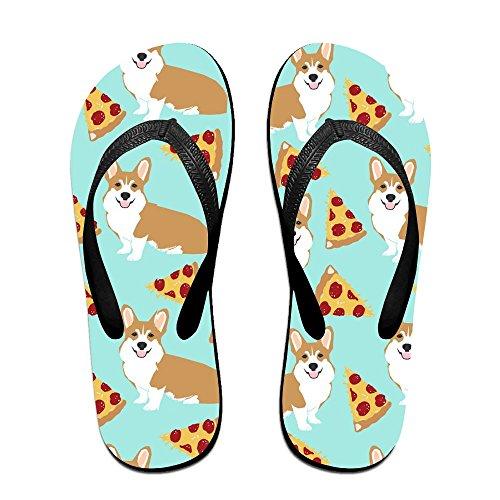 Unisex Happy Corgi Y Pizza Summer Strap Chanclas Beach Slippers Plataformas Sandalias Para Hombres Mujeres Negro