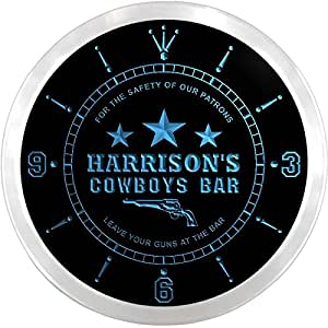 ncqg0580-b HARRISON'S Cowboys Leave Your Guns At The Bar Beer LED Neon Sign Wall Clock
