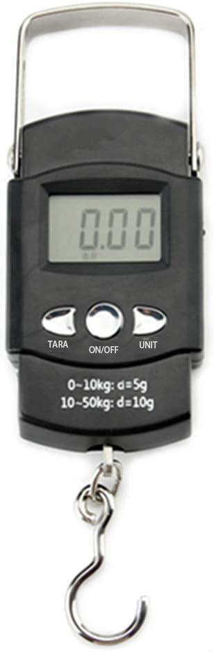 50 kg elektronische Waage f/ür Angeln Postanh/änger mit Ma/ßband a Tragbare LCD-Anzeige mit Hintergrundbeleuchtung