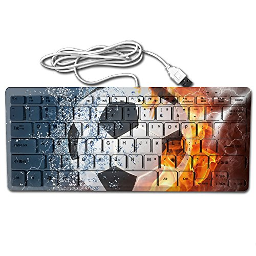 BeeYu Water Abstract Fire Soccer Ball Wired Thin Light 78 Keys Usb Multimedia Small For Pc Computer (Nerdy Halloween Jokes)