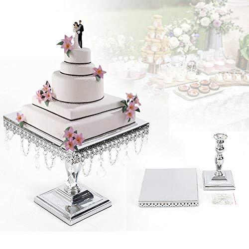 Square CAKE STAND SET Crystal Dessert Wedding Party Display Pedestal Metal