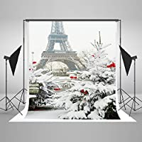 Kate 5x6.5ft Photography Backdrop Eiffel Tower Photo Background Cotton No Wrinkle Snow Backdrops for Photographers J02468