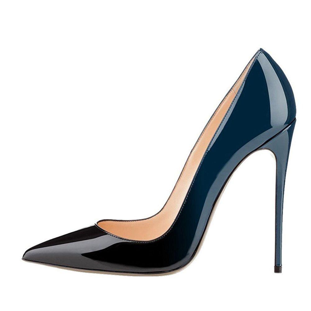 Gradient bluee UMEXI Women Pointed Toe High Heels Slip on Stilettos Wedding Party Dress shoes Plus Size Pumps