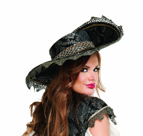 Hidden Treasure Pirate Costumes (Starline Hidden Treasure Hat Costume Accessory, Black, One Size)