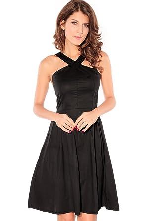 Arunta® Klassisch Schwarz und Elegantes Minikleid Skater Kleid mit ...