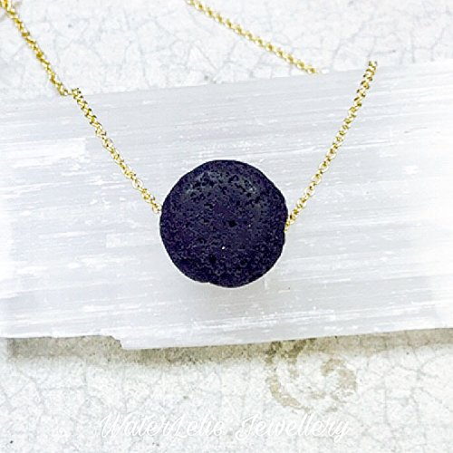 Lava Stone Necklace. Essential Oil Diffuser necklace. Modern aromatherapy necklace. Minimalist necklace. Sterling silver or Goldfilled chain.