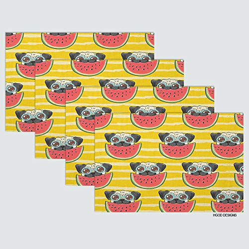 HGOD DESIGNS Pug Place Mat Set of 4,Funny Pug Dog in Sunglasses Eating Watermelon Table Placemats Cotton Linen for Dining Table Kitchen Table Placemat 12