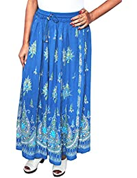 Maple Clothing Women's Long Skirts Sequins Ankle Length Rayon Indian Clothing