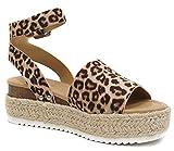 Soda Topic Casual Espadrilles Flatform Wedge Open Toe Sandal Oat Cheetah (11)