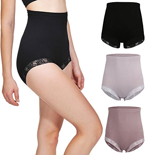 BOMIMI Womens Shapewear Lace Hi-Waist Panty Tummy Control Panties Seamless Body Shaper Pack