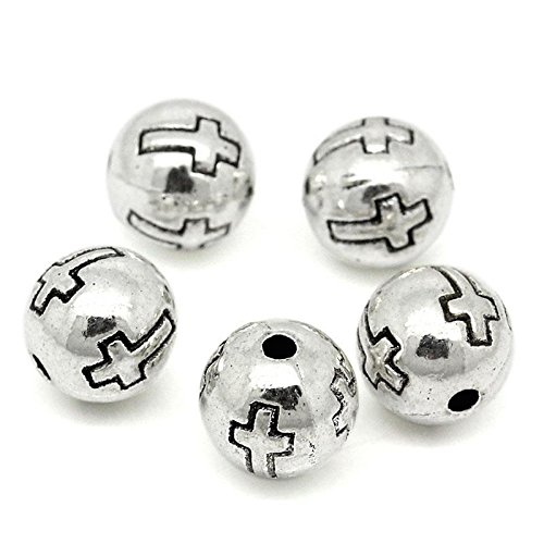 PEPPERLONELY Brand 50PC Antiqued Silver Cross Round Spacer Beads 8mm - Cross Spacer