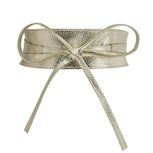 CHIC DIARY Fashion Women Faux Leather Bow Tie Waistband Elastic Stretch Waist Strap Cummerbund Waist Band Belt for Dress (Golden) ()