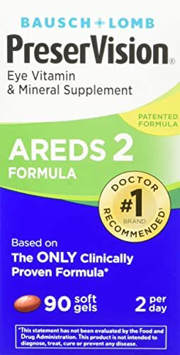 Bausch + Lomb PreserVision AREDS 2 Eye Vitamin & Mineral Supplement Soft Gels, 90 Count Bottle