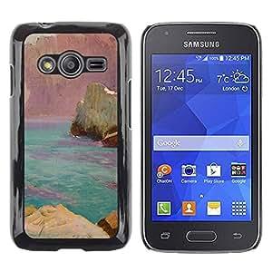 rígido protector delgado Shell Prima Delgada Casa Carcasa Funda Case Bandera Cover Armor para Samsung Galaxy Ace 4 G313 SM-G313F /World Pink Rocks Blue Sea/ STRONG