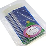 Christmas Tree Cookie Candy Snack Party Favor Gift Bags, Pack of 95, Blue Background