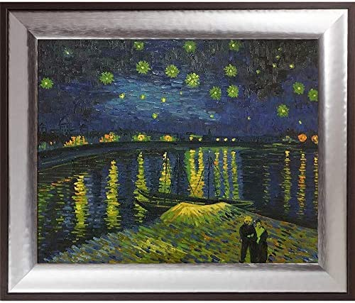 La Pastiche Hand Painted Oil on Canvas Starry Night Over The Rhone Framed, 25.25 x 21.25 , Multi-Color