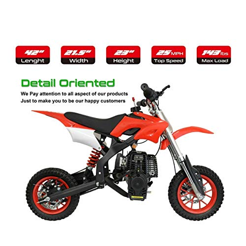 - NHT Mini 40CC Gas Pocket Dirt Bike Motorcycle Off-Road w/Automatic Pull Start 44