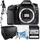 Canon 80D Body Only Package, Camera Case, Full Size Tripod, 16Gb SDHC Class 10 High Speed Memory Card, Table Top Tripod, Lens Cleaning Kit and LCD Screen Protector
