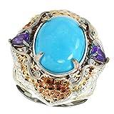 Michael Valitutti Palladium Silver Oval Kingman Turquoise & Amethyst Textured Ring