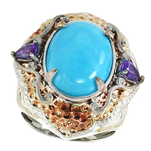 Michael Valitutti Palladium Silver Oval Kingman Turquoise & Amethyst Textured Ring by Michael Valitutti