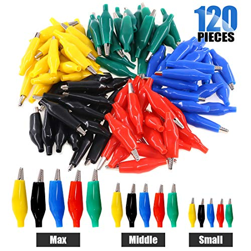Glarks 120Pcs 28mm 35mm 45mm Alligator Clips Crocodile Electrical Test Clamps Jumper Helper with Protective Insulation Cover (Black, Red, Yellow, Blue, Green)